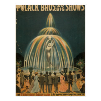 Den elektriska fontänvintageteatern vykort