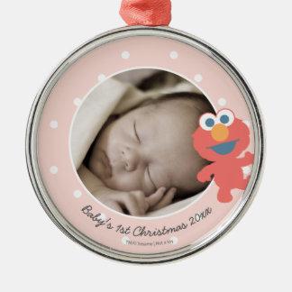 Den Elmo | baby första jul - tillfoga ditt namn Julgransprydnad Metall