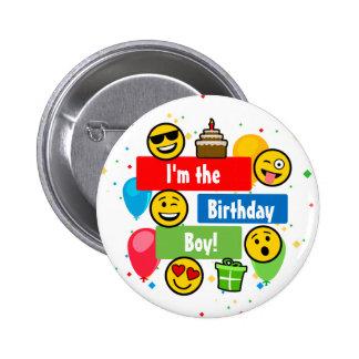 Den Emoji födelsedagsfesten lurar Im Standard Knapp Rund 5.7 Cm