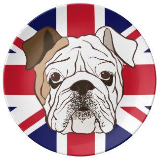 Den engelska bulldoggen & fackligt jackporslin porslinstallrik