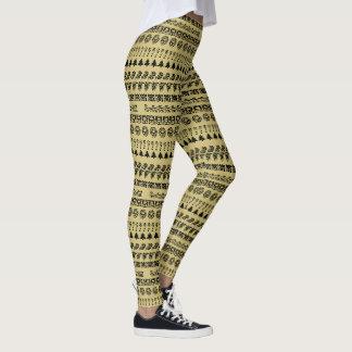 Den enkelt svarten och guld ror leggings