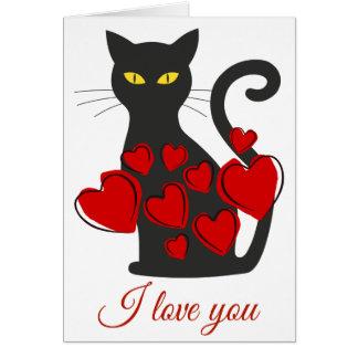 Den enkla stora svart katten älskar jag dig hälsningskort