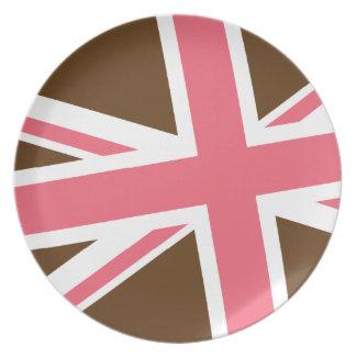 Den fackliga flagga pläterar (bruntet/rosor) tallrik