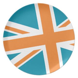 Den fackliga flagga pläterar (krickan/orangen) tallrik