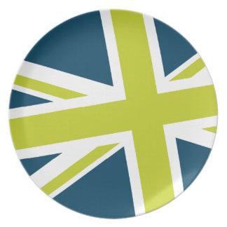 Den fackliga flagga pläterar (marinen/limefrukt) tallrik
