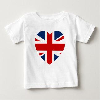Den fackliga jackflaggahjärtan formar tee shirt