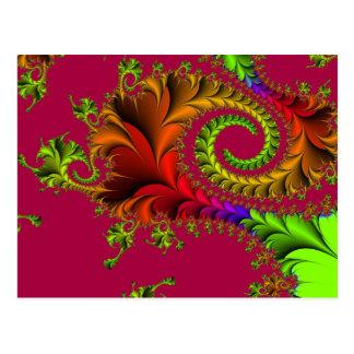 Den färgglada Feathery fractalen virvlar runt Vykort