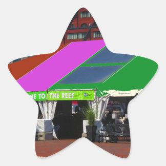 Den färgrika Boston stadsUSA Amerika bussen Stjärnformat Klistermärke