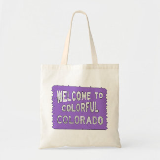 Den färgrika Colorado lilavälkomnandet underteckna Tygkasse