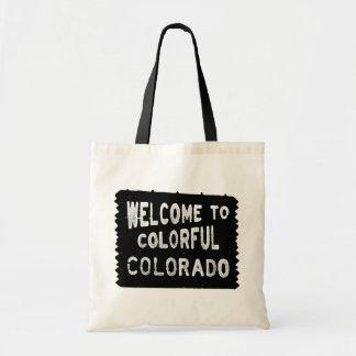 Den färgrika Colorado svartvälkomnandet underteckn Tygkasse