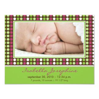 Den färgrika godisen pricker födelsemeddelandet anpassningsbara inbjudningskort