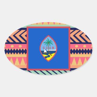 Den färgrika Guam flagga boxas Ovalt Klistermärke
