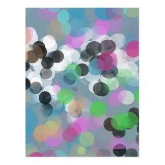 Den färgrika konfettin Bokeh pricker Vykort