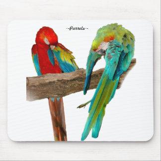Den färgrika macawen mekaniskt säga efter Mousepad Musmatta