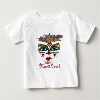 Den färgrika Mardi Gras glitterfjädern maskerar T-shirt