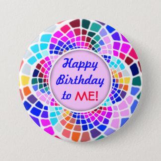 Den färgrika mosaiska grattis på födelsedagen till mellanstor knapp rund 7.6 cm