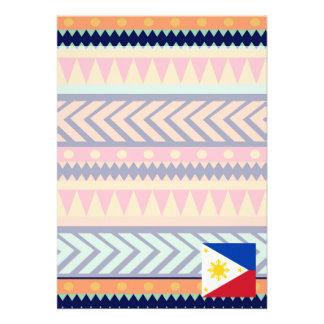 Den färgrika Philippines flagga boxas 12,7 X 17,8 Cm Inbjudningskort