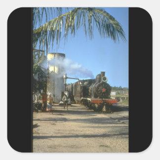 Den färgrika platsen som nr. 6 tar water_Steamtåg Fyrkantigt Klistermärke