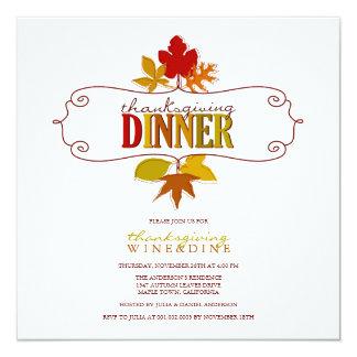Den färgrika thanksgivingen lämnar julfestinbjudan fyrkantigt 13,3 cm inbjudningskort