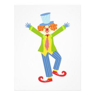 Den färgrika vänliga clownen med krullat skor brevhuvud