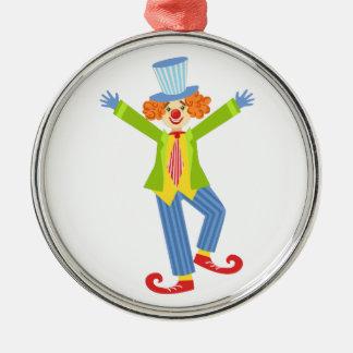 Den färgrika vänliga clownen med krullat skor julgransprydnad metall