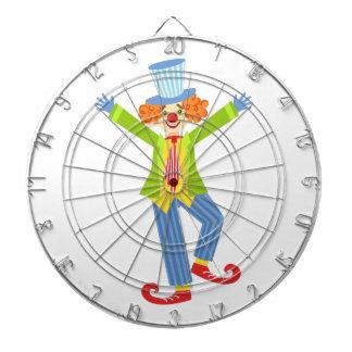 Den färgrika vänliga clownen med krullat skor piltavla