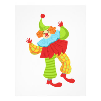 Den färgrika vänliga clownen rufsar in till brevhuvud