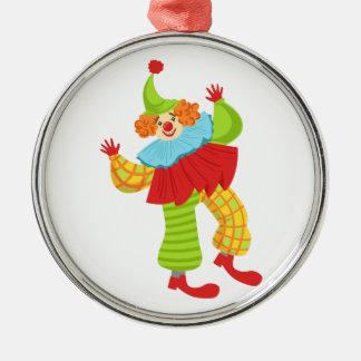 Den färgrika vänliga clownen rufsar in till julgransprydnad metall