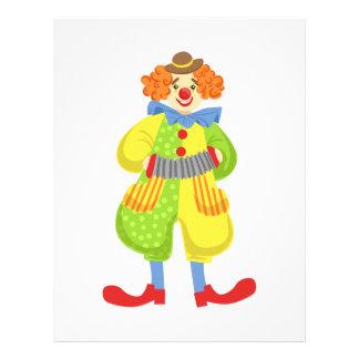 Den färgrika vänliga clownen som leker dragspel brevhuvud