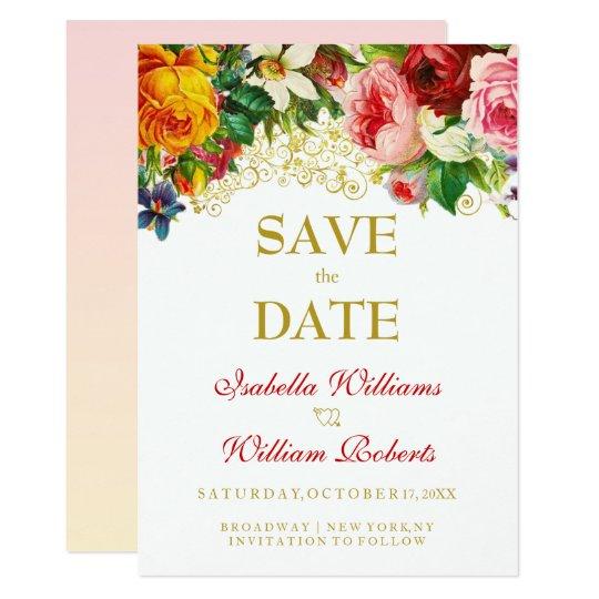 Den färgrika vattenfärgen blommar bröllop spara 12,7 x 17,8 cm inbjudningskort