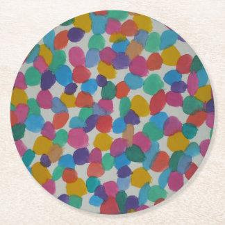 Den färgrika vattenfärgen pricker underlägg papper rund