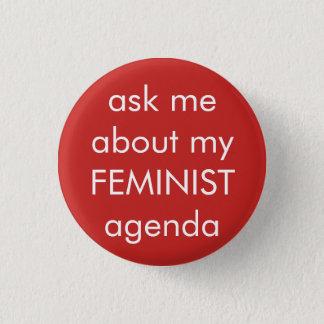den feministiska flickan driver rundan knäppas mini knapp rund 3.2 cm