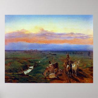 Den Ferdinand Georg Waldmüller aftonen landskap Poster