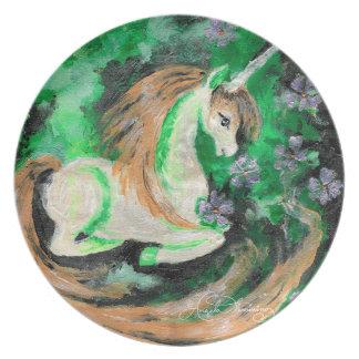 Den finger målade unicornen tallrik