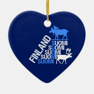 Den Finland älg- & renprydnaden - skräddarsy Hjärtformad Julgransprydnad I Keramik