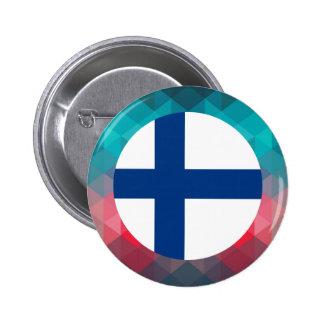 Den Finland flagga cirklar på modern bokeh Standard Knapp Rund 5.7 Cm