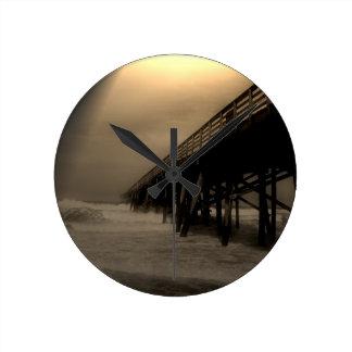 Den Flagler stranden fotograferar Rund Klocka