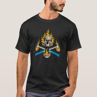 Den flammande skallen och bultar t-shirt