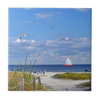 Den Florida stranden med segelbåten belägger med t Kakelplatta