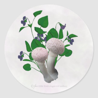 Den fluffiga rosan plocka svamp runt klistermärke