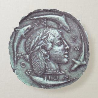 den forntida greken myntar delfiner, & porträtt rund kudde