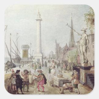 Den forntida porten av Antwerp Fyrkantigt Klistermärke