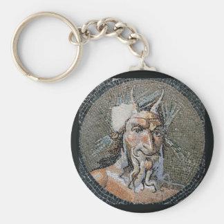 Den forntida romaren panorerar mosaiken rund nyckelring