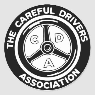Den försiktiga chaufföranslutningklistermärken runt klistermärke