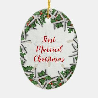 Den först att gifta sig strandjulen sid dubbelt julgransprydnad keramik