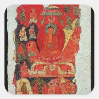 Den första predikanen av Buddha Fyrkantigt Klistermärke