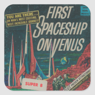 Den första spaceshipen på Venus vintageScifi Fyrkantigt Klistermärke