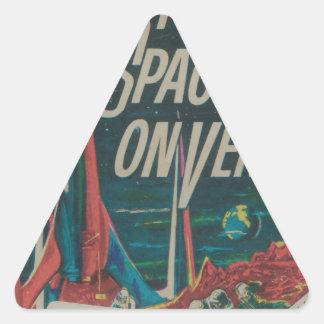 Den första spaceshipen på Venus vintageScifi Triangelformat Klistermärke