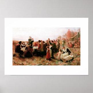 Den första thanksgivingen i Plymouth konstaffisch Poster