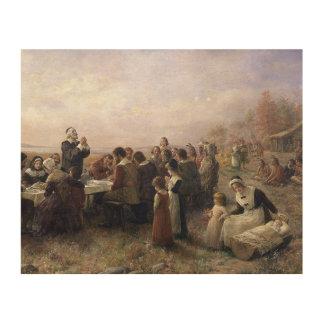 Den första thanksgivingen på Plymouth vid Trätavla